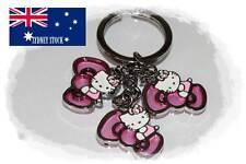 3 in 1 Hello Kitty Diamante Big Bow Enamel Metal Keyring Party Loot Bag Filler