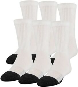 Under Armour 254485 Kids Youth Performance 6 Pair Pack Crew Socks Size 13.5-4