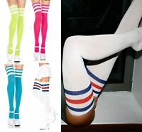 WOMEN, TEENAGERS, MEN, 3 STRIPES UNISEX OVER KNEE, THIGH HIGH SOCKS, 85% COTTON