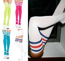 WOMEN, TEENAGERS, MEN, 3 STRIPES  OVER KNEE, THIGH HIGH SOCKS, 85% COTTON (6)
