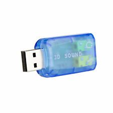 External USB Stereo Audio 5.1 Sound Card Adapter 3.5mm Mic Headphone Connector