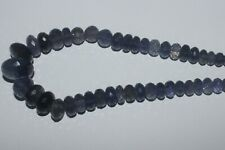 127CARTS 5.5to12MM NATURAL GEMSTONE IOLITE FACETED RONDELLE BEADS STARND #974