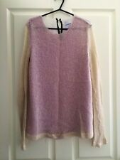 WHITE EUPHORIA Long Sleeve Silk Top - Knit/Lilac/White - Size S