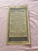 VINTAGE BILL OF FARE MENU VICTUALLING LODGING