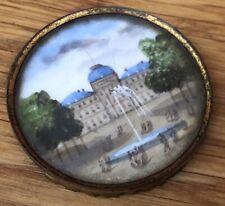 Grand Tour Miniature Painting Louvre, Tuileries, Paris C. 1870