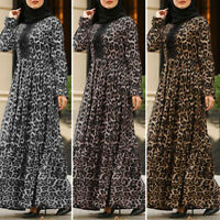 UK Women Long Sleeve Leopard Printed Casual Loose Muslim Abaya Kaftan Maxi Dress