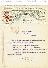 Dépt 35 - Rennes 10 Bld Sébastopol - Belle Entête Tuilerie Poterie Faïence 1920