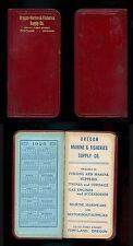 1925 OREGON MARINE & FISHERIES SUPPLY CO. Portland OR  Pocket Calendar Notebook