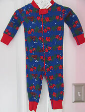 NWT Hanna Andersson Boys Blue Winter Scene One-Piece Pajamas Size 70 (9-18 Mos)