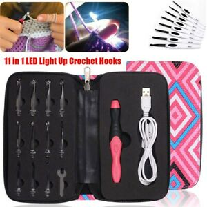 11in 1 USB LED Light Up Crochet Hooks Knitting Needles Weave Sewing Tools Set AU