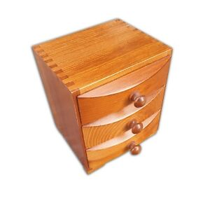 WOODEN JEWELLERY BOX WITH 3 DRAWERS IN BROWN COLOR