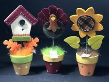 Thanksgiving Table Decorations Ceramic Pot Felt House Turkey Sunflower 3 PC Set