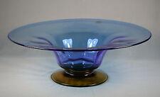 Blenko Amber & Blue Pedestal Bowl