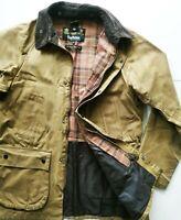 *HOT ENGLAND Men's BARBOUR @ BEDALE WAXED Cotton PLAID LINED BROWN COAT JACKET M