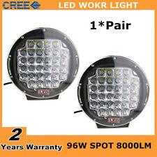 2X 9inch 96W Black Round Spot Cree LED Work Light Off-road 4WD UTE Jeep Bumper