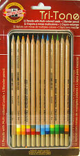 Koh I Noor Hardtmuth Tri-tone 12 Pencil Set with Tin Case 11 Colors & 1 Blender
