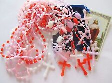 Wholesale Lot of 24  Plastic Rosaries in Mixed Colors, Great Gifts