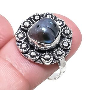 Biwa Pearl Gemstone Ethnic Handmade Silver Jewelry Ring Size 9 RR1766