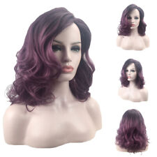 Women's Ombre Purple Wig Curly Full Hair Wigs Wavy Synthetic Cosplay Wigs Party