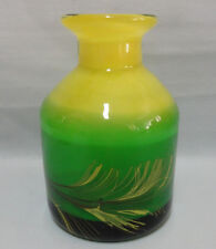 JAROSLAV SVOBODA Czech Hand Blown Solid Vase Green & Yellow Crystal with mark