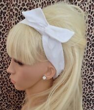 WHITE PLAIN COTTON BENDY WIRE HAIR WRAP WIRED SCARF HEADBAND 50S RETRO STYLE