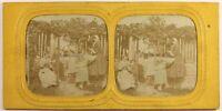 Scena Nel Un Giardino Artistico Foto Stereo PL54L3n Diorama Vintage Albumina