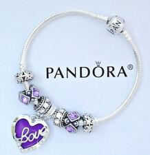 Authentic Pandora Charm Bracelet Heart Love Purple European Beads Charms