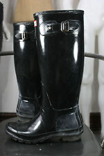 Hunter boots 7 original gloss black rubber waterproof rain wellies