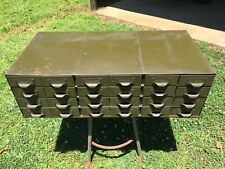 Vintage Lyon Industrial Metal Parts Bin Organizer Tool box Cabinet 24 Drawers