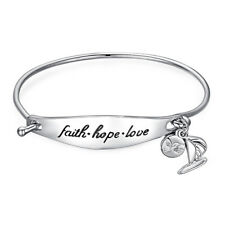 JewerlyPalace Faith Hope Love Dangle Sailboat 925 Sterling Silver Id Bracelet