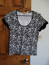 NWT Vintage Cotton women's s/sleeve animal print top shirt blouse size S $29