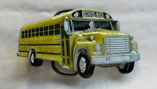 YELLOW SCHOOL BUS DRIVER SHAPED VINTAGE BELT BUCKLE 1978