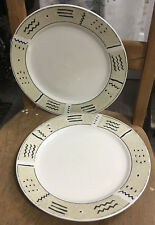 "Set of 2 Jumana Dinner Plates Oneida Majesticware Geometric 10.5"" Not Perfect"