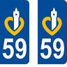 Département 59 sticker 2 autocollants style immatriculation AUTO PLAQUE