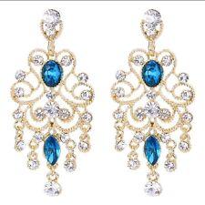Austrian Crystal Gold & Blue Chandelier Earrings Bridal Wedding Bridesmaid