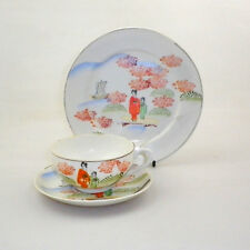 Vintage Kutani Hand Painted Trio with Geisha Lithophane