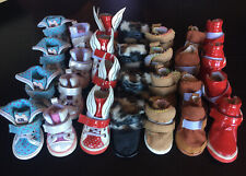 Dog Shoe Lot Small 4 And 5 Rainboots Sneakers Boots New And Used Red Brown Blue