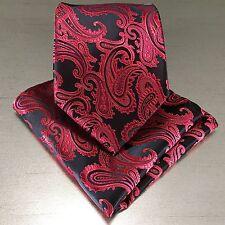New Men's Black / Red Neck tie and Pocket Square Hankie Set Formal Wedding 600K