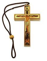 "Icxc Jesus Christ Decoupage Crucifix Skul Wooden Cross on Cord For Car Room 4"""