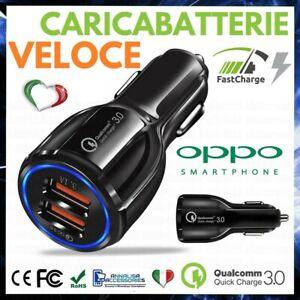 CARICABATTERIE DA AUTO 2 USB CARICATORE ACCENDISIGARI VELOCE PER OPPO A5 2020