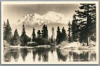 RPPC Postcard Mt Shasta CA lake view with snow covered mountain in background