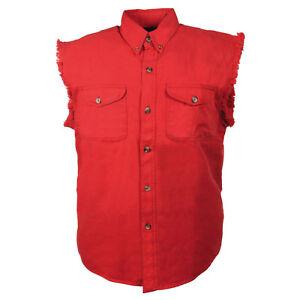 Milwaukee Performance Men's Red Lightweight Sleeveless Denim Shirt  - DM4007