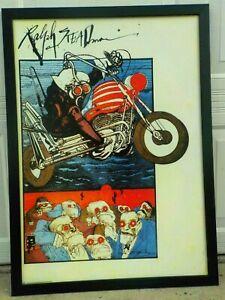 "Ralph Steadman Rare Gonzo Cover Art Print on Board 35"" x 25"" Black Wood Frame"