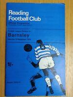 Reading v Barnsley 1970-71 Season Football Programme 19th September Division 3