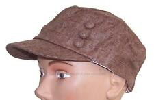 Women's Tweed Military Cadet 3 Button Hat W/Floral Lining Flex Fit #979 Brown