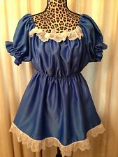 Royal Blue Sissy ABDL Adult Baby Satin Dress & Bottom Diaper Cover