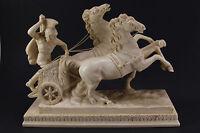 SANTINI  BEN HUR  Classic Sculpture Roman Soldier Riding Chariot 2 Horses Italy