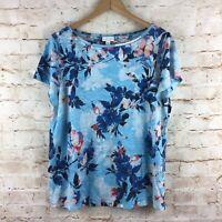 J. Jill Love Linen Blue Floral Short Sleeve Linen Top Size Medium