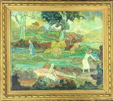 Antique Landscape Painting Oil on Canvas by Mykola Burachek 1871-1942 Russian