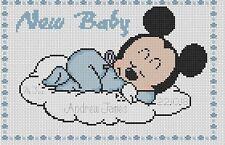 Sampler de Nacimiento Bebé Mickey Punto de Cruz Kit Completo #5-108